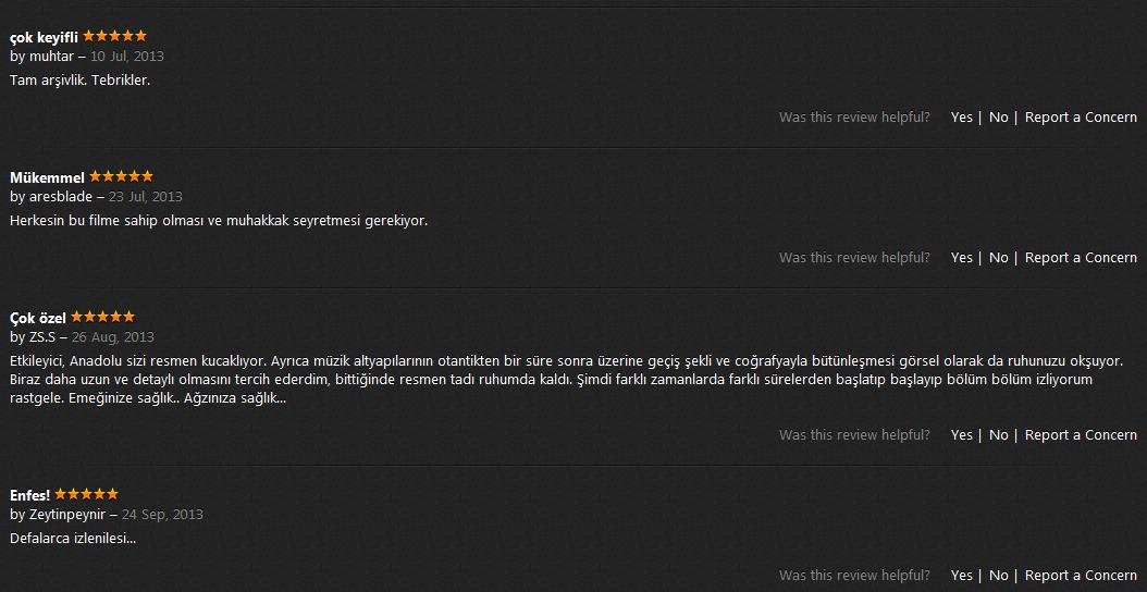 Anadolunun Kayıp Şarkıları seyirci yorumları